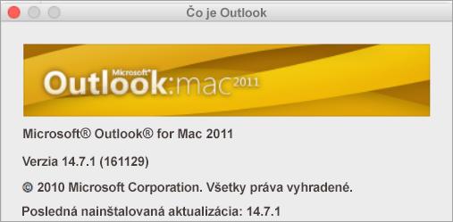 Vpoli Čo je Outlook sa zobrazuje informácia Outlook for Mac 2011.