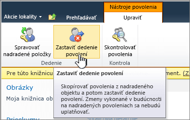 Kliknite na položku Zastaviť dedenie povolení apoužite jedinečné povolenia