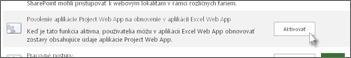 Povolenie aplikácie Project Web App pre obnovenie aplikácie Excel Web App