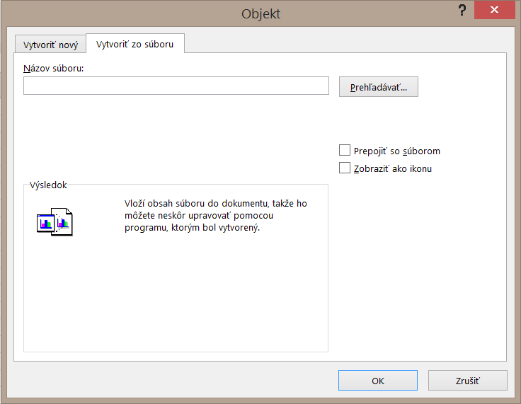 Karta Vytvoriť zo súboru v dialógovom okne Objekt.