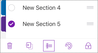 Tlačidlo premenovania sekcie na paneli s ponukami v iPhone.