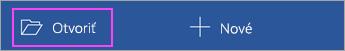 Na domovskej obrazovke aplikácie ťuknite na položku Otvoriť.