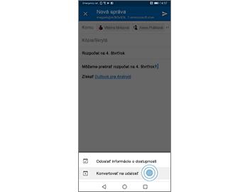 E-mailová správa so zvýraznenou možnosťou Konvertovať na udalosť
