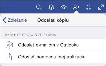 Ponuka Odoslať kópiu, ktorá zobrazuje dve možnosti zdieľania súboru, a to prostredníctvom e-mailu v Outlooku alebo odoslaním cez inú aplikáciu.
