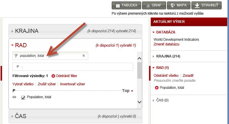 Výber množiny údajov z worldbank.org