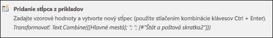 Power Query – vytvorenie stĺpca z príkladu, vlastný vzorec stĺpca
