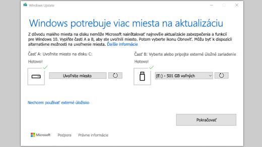 """Hlásenie """"Windows potrebuje viac miesta na aktualizáciu"""""""