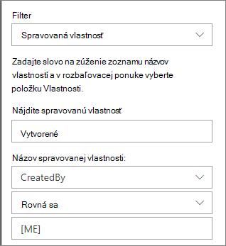 Zvýraznené obsahu s filtrom spravovanej vlastnosti