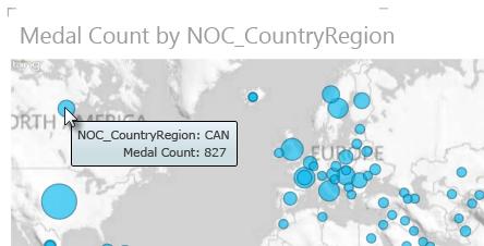 Potiahnutie kurzora nad údaje v mapách Power View na zobrazenie ďalších informácií