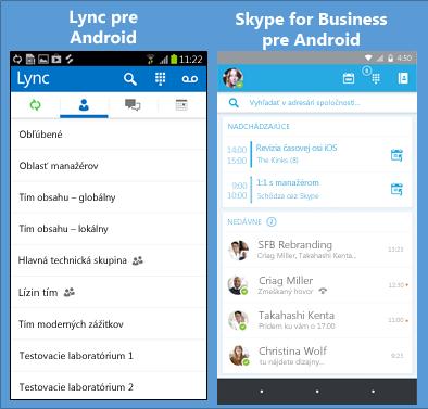 Súbežné zobrazenie snímok obrazovky Lyncu aSkypu for Business