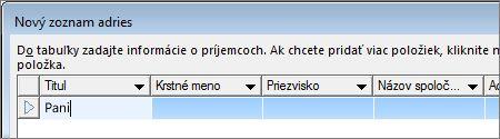 Okno Nový zoznam adries