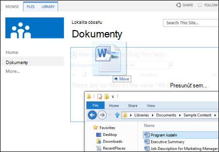Presúvanie súborov v SharePointe
