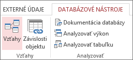 Príkaz Vzťahy na karte Databázové nástroje