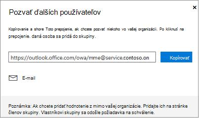 Kliknite na položku Kopírovať alebo e-mailu môžete vložiť prepojenie pripojiť sa k e-mailom