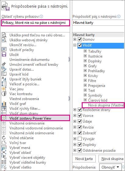 Prispôsobenie poľa pásov s nástrojmi v Exceli