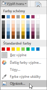 Snímka obrazovky smožnosťou Výplň obrázka zponuky Výplň tvaru na karte Formát vPublisheri.