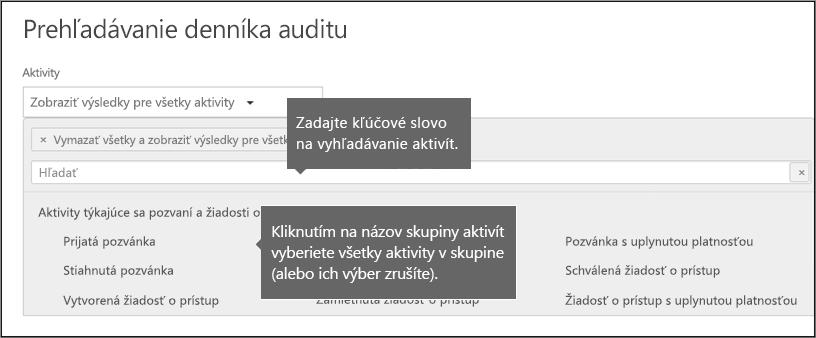 Výber všetkých aktivít kliknutím na skupinový názov aktivity