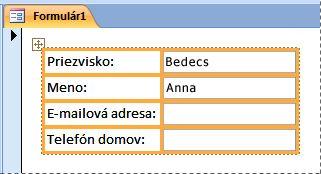 Polia v skladanom rozložení vo formulári
