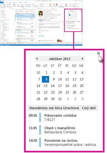 Príkaz Odstrániť náhľad v pripnutom náhľade kalendára
