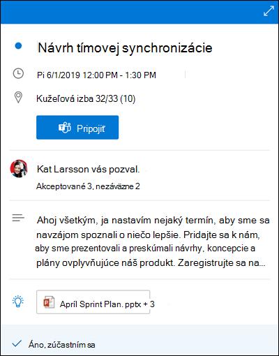 Nahliadnutie do kalendára pre Outlook pre web.