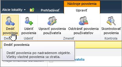 Kliknutím na položku Dediť povolenia vytvorte opätovné spojenie snadradeným objektom