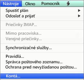 Outlook pre Mac – Nástroje > Kontá