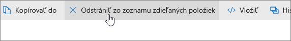 Snímka obrazovky zobrazujúca tlačidlo Odstrániť zo zoznamu zdieľaných položiek na lokalite OneDrive.com.