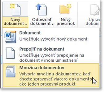 Dokument nastaviť príkaz v ponuke nový dokument