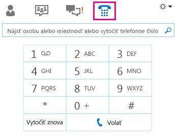 Snímka obrazovky zobrazujúca klávesnicu na telefonovanie kontaktu