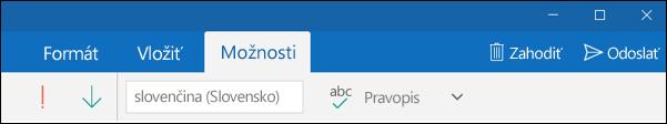Karta Možnosti vaplikácii Outlook Pošta