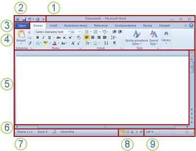 Prvky okna programu Word