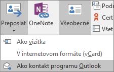 V Outlooku na karte Kontakt vyberte v skupine Akcie položku Preposlať a potom vyberte niektorú možnosť.