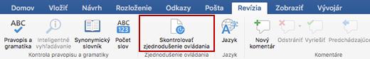 Snímka obrazovky s pásom s nástrojmi Revízia s ikonou Kontrola zjednodušenia ovládania