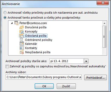 Dialógové okno archivovanie