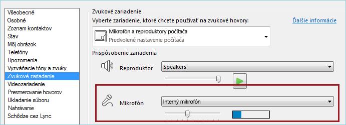 Snímka obrazovky skontrolou zvuku mikrofónu vLyncu