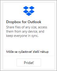 Snímka obrazovky s dlaždicou bezplatne dostupného doplnku Dropbox for Outlook.