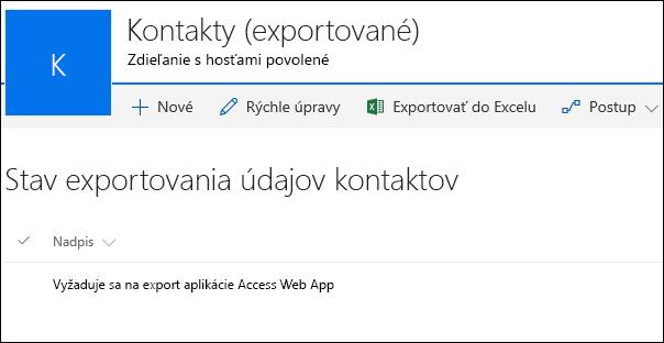 Zoznam SharePointu so záznamom s názvom Požaduje sa export webovej aplikácie Accessu