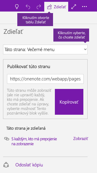 Snímka obrazovky zdieľania jednej strany vo OneNote