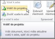 Pás s nástrojmi lokality SharePoint s kurzorom ukazujúcim na ikonu Vrátiť do projektu