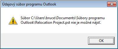 Dialógové okno s upozornením na chýbajúci údajový súbor programu Outlook (.pst)