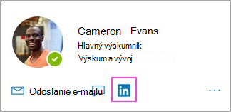 Zobrazuje sa ikona LinkedInu na karte profilu