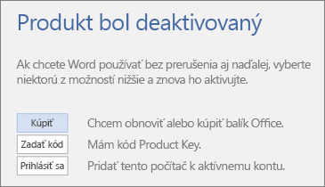 Snímka obrazovky zobrazujúca chybové hlásenie Produkt bol deaktivovaný