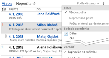 Zoznam filtrov, ktoré sú k dispozícii na triedenie správ
