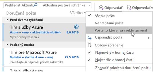 Ponuka zobrazujúca možnosti uvedené Mail