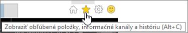 Tlačidlo informačného kanála Internet Explorera