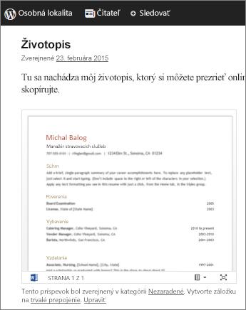 Wordový dokument vložený do blogového príspevku