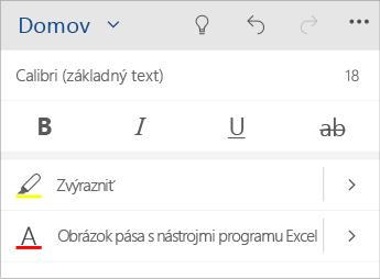 Snímka obrazovky sponukou formátovania textu voWorde Mobile.