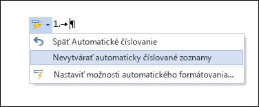 Možnosti číslovania zobrazujúce sa v okne Automatické opravy