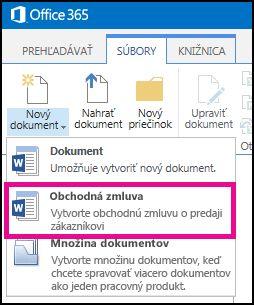 Prostredníctvom položky Nový dokument rozbaľte ponuku, v ktorej je uvedený typ obsahu zmluvy o predaji.