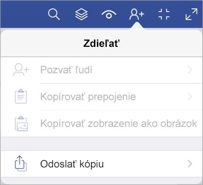 Odoslanie kópie súboru vo Visio Vieweri pre iPad